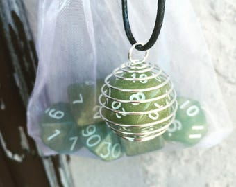 "Usable D20 Necklace or Keychain + Matching Dice Set - Necklace On Faux Leather Cord 18"" • Dungeons and Dragons Dungeon/Game Master Gift"