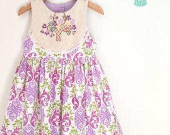 Size 5 vintage purple tea party dress with embroidery