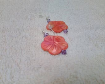 Coral and lavender earrings