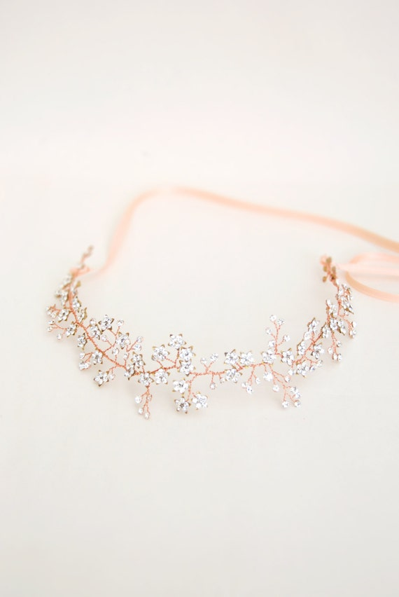 Rose gold crystal hair crown babys breath hair vine