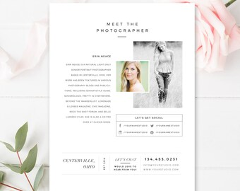 About Me Page Template for Photographers - Photography Templates - Photo Marketing Templates - INSTANT DOWNLOAD