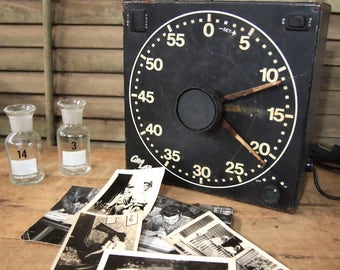 Gra Lab Made in USA Safelight Timer Shabby Black White Typography Scientific Instrument Steampunk As- Found