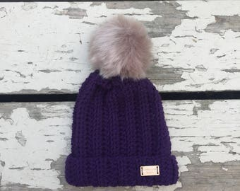 Baby/toddler hat together with Pom Pom crocheted by hand. Eggplant, Navy, white, cream, grey and baby blue.