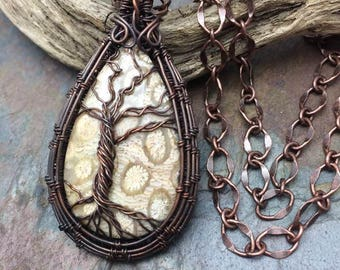 Fossil Coral Gemstone Tree of Life Wire Wrapped Necklace,Inspirational Jewelry, Free USA Shipping, Readyto Ship, Handmade in the USA