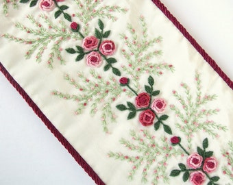 Victorian Bell Pull, Vintage Hand Embroidered Wall Decor