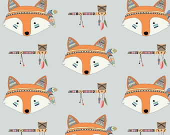 Cute Tribal Fox Fabric by the Yard Grey Aztec Southwest Nursery Fabric Childrens Organic Cotton Knit Minky Jersey 7364806