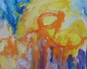 Early April Painting 14 x 16 Abstract ORIGINAL spring lavender yellow orange