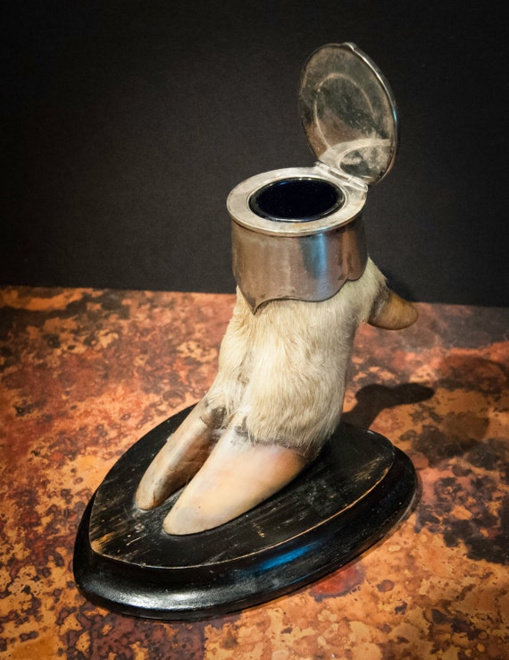 Antique British Red Stag Foot Silver Inkwell