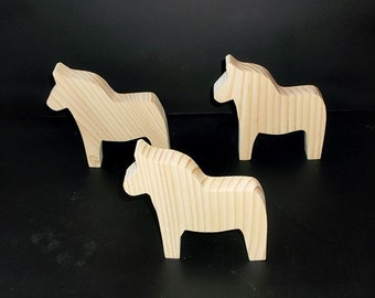 3 Dala Horse Cutouts D-2-.75 Unfinished Wood