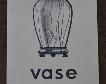 Vintage 1950s Educational Ephemera Scrapbooking Large Picture Print Flash Card - Vase