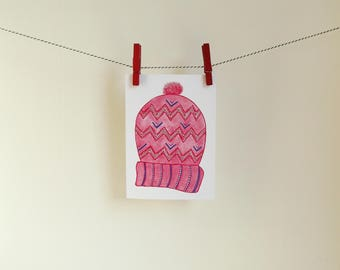 Card Knit Cap - A6 Postcard - Blank Card - Just Because Card - Card Recycled Paper.