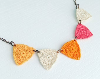 Bucktown Crochet Necklace in Dreamsicle, Orange Cream Geometric Necklace, Cotton Anniversary, Gift for Wife, Triangle Necklace, Lightweight