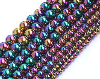 Hematite Beads, Natural Gemstone Beads, Rainbow Hematite Stone Beads, Round Loose Beads 2mm 3mm 4mm 6mm 8mm 10mm