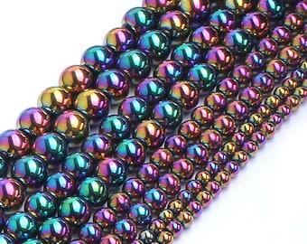 Hematite Beads, Natural Gemstone Beads, Rainbow Hematite Stone Beads, Round Loose Beads 2mm 3mm 4mm 6mm 8mm 10mm