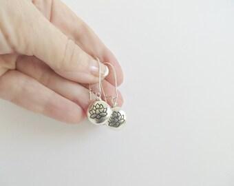 Lotus Earrings Silver Earrings Namaste Om Silver Lotus Earrings Versatile Earrings