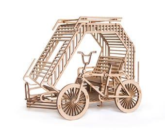 Diy Model Kit, Filipino Bicycle Rickshaw, 3D Puzzle, Miniature Tricycle Laser Cut MDF DIY Gift For Him, Table Sculpture, Lasercut Wooden DIY