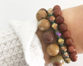 SALE! | Set of 3 -- Falling In Love With You Stack | Jewelry Gift Set | Gift Set | Mineral Bracelets | Mineral Stones | Louis and F