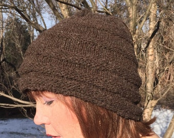 Brown bubble rib hat - light weight