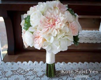 Succulent Bouquet, Wedding Bouquet, Silk Bouquet, Bridal Bouquet, Dahlia Bouquet, Blush Bouquet, Silk Wedding Bouquet