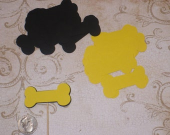 20 Mickey Mouse Pluto Bones Black Die Cut pieces for crafts Cupcake Picks DIY Kids Crafts Birthday Party etc.