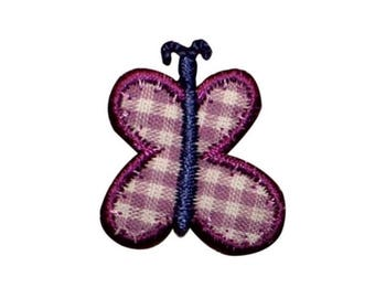 ID 2150B Plaid Butterfly Patch Garden Bug Picnic Embroidered Iron On Applique