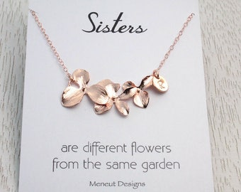 JUNE Sale 20% off, Sisters Flower Necklace, Pink Gold Disc Charm Necklace, Rose Gold Initial Disc, Rose Gold Wedding Bridal Gift,