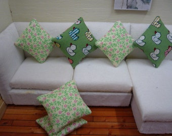 Dolls House Cushion One Green Handmade Miniature Cushion 1:12 Scale