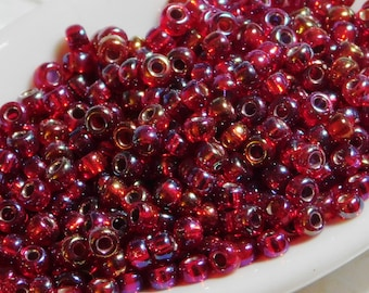 8/0 Seed Beads_Miyuki #11R_Silver Lined Ruby Red AB_10 grams_Size 8_Beadweaving