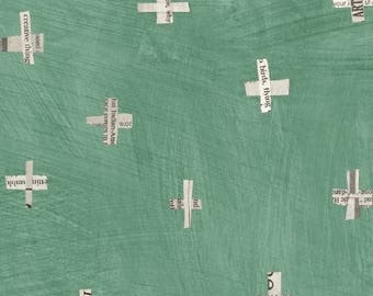Dreamer by Carrie Bloomston for Windham Fabrics - Full or Half yard Newsprint Plus in Jade Green Modern