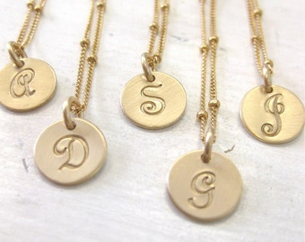 Gold Initial Necklace with French Script