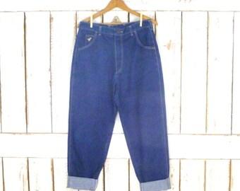 80s Wrangler high waisted tapered leg dark blue denim vintage jeans/junior fit high waist jeans