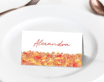 Editable Autumn place name cards ~ Printable template ~ Watercolour fallen leaves