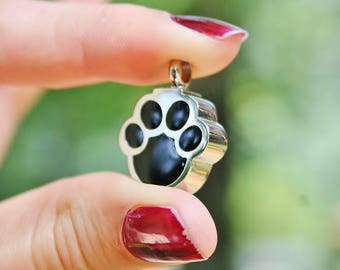 Urn Paw Print Cremation PENDANT or NECKLACE Holds Cremains Ash Locket Dog Cat Pawprint In Memory of Beloved Pet Loss Memorial Ladies Kids