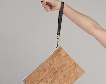 Cork Clutch, Cork clutch bag, cork purse, cork bag, cork handbag, natural cork bag, casual handbag, Vegan bag, handbag,  Lagut, gift for her