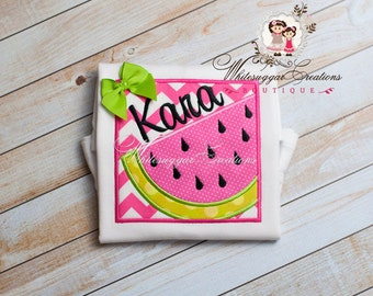 Girl Summer Outfit, Girl Watermelon Shirt - Baby Summer Clothes - Girl Summer Outfit - For Toddler, Embroidered, Summer, Personalized