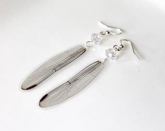 Dragonfly Earrings, Real Damsel Fly Wing Earrings, Natural History Jewelry