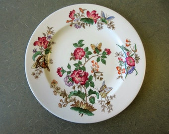 Vintage Plate, Wedgwood Plate, Charnwood Pattern, Floral Wedgwood Plate, Luncheon Size Plate Floral Wedgwood, Rose Butterfly Bee Grasshopper