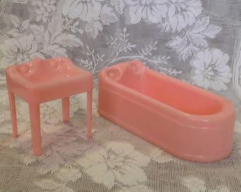 "Plasco dollhouse pink bathroom set 1:16 3/4"" scale furniture bath room tub bathtub sink collectible miniatures mid century doll house decor"