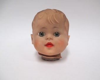 Vintage Soft Rubber Doll Head, 1950s Vinyl Toy Parts REady for Restoration, OOAK  Upcycle Creepy Assemblage