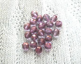 Glass Amethyst Beads, Light Purple Crystal beads, Discount Sale Beads, Faceted Beads, AB finish, Lilac Beads, 21