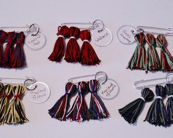 Kilt Pin: Tartan Tassels - 3 Tassel Brooch - Custom Color