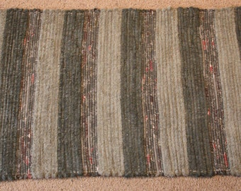 "Handwoven Rag Rug - Greyish ""Dusty"" Green with flecks of burgundy/rust - 42 inches....(#163)"