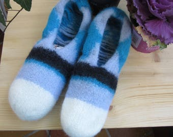 Knit felted slippers, Gr45/46