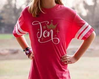 10th birthday sassy vintage football tee, tenth birthday shirt for girls, ten birthday shirt