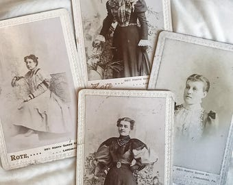 4 Victorian lady fashion cabinet cards