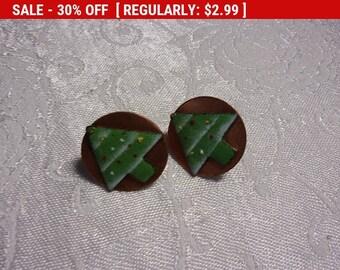 vintage copper enamel screw back earrings, estate jewelry