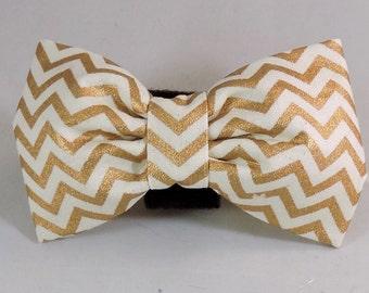 Dog Flower, Dog Bow Tie, Cat Flower, Cat Bow Tie  - Gold and Cream Chevron