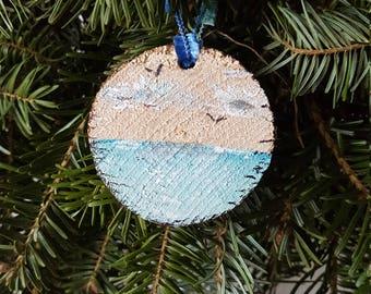 "Mini 2"" Driftwood Ornament for a Beach Themed Tree, Coatal Holiday"