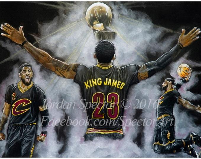 Cleveland Cavaliers - Lebron James Art Print - 2016 NBA Champions - Wall Art - Man Cave Art - Cavaliers - Cavaliers Artwork - Dorm Decor