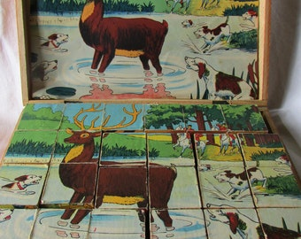 HUGE  antique French box child's children's baby wooden nursery picture puzzle blocks 6 scenes c1930's
